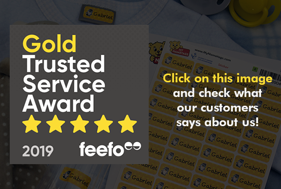 My Nametags Feefo reviews Gold Trusted Service Award